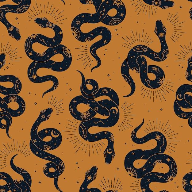 Vector magic seamless pattern con serpente con segni sole, luna, occhi magici, costellazioni e stelle. Vettore Premium