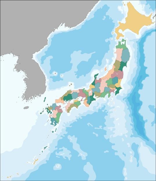 Mappa vettoriale del giappone divisa in prefetture Vettore Premium