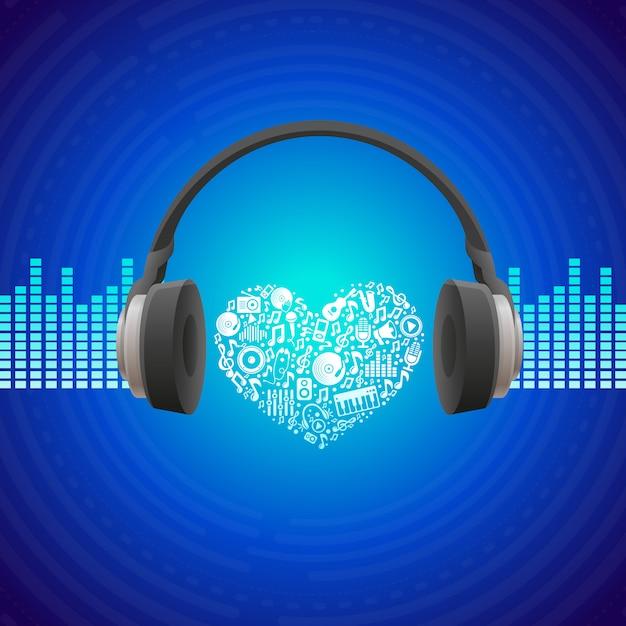 Concetto di musica di vettore - priorità bassa astratta con le cuffie Vettore Premium