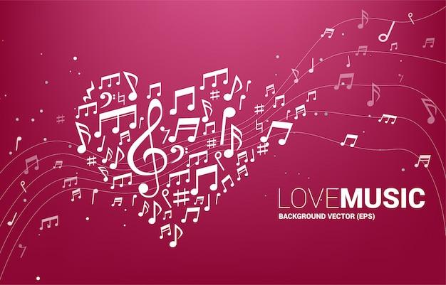 Forma di cuore a forma di nota musica melodia vettoriale. concetto per la canzone e il tema del concerto di musica d'amore. Vettore Premium