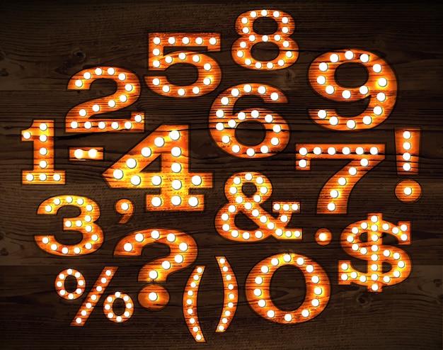 Vettore di numeri e simboli in stile retrò Vettore Premium