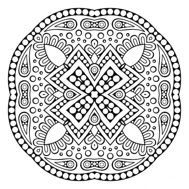 Mandala ornamentale di vettore ispirato arte etnica Vettore Premium