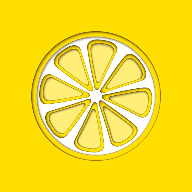 La carta vettoriale ha tagliato il limone giallo, ha tagliato le forme. Vettore Premium