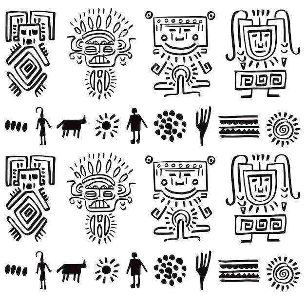 Disegno vettoriale modello con elementi tribali Vettore Premium