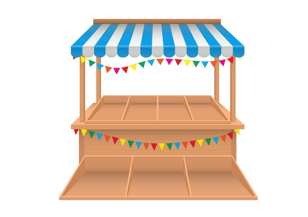 Vettore realistico della bancarella del mercato vuoto con tenda a strisce blu e bianca isolata Vettore Premium