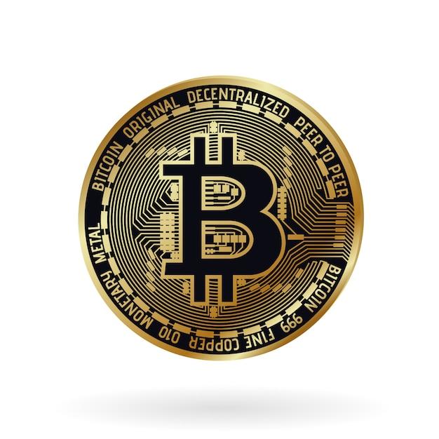 Bitcoin dorato realistico di vettore. Vettore Premium