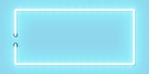 Vector l'insegna al neon isolata realistica della struttura blu di rettangolo panoramico per il modello e la disposizione sullo spazio ciano. Vettore Premium