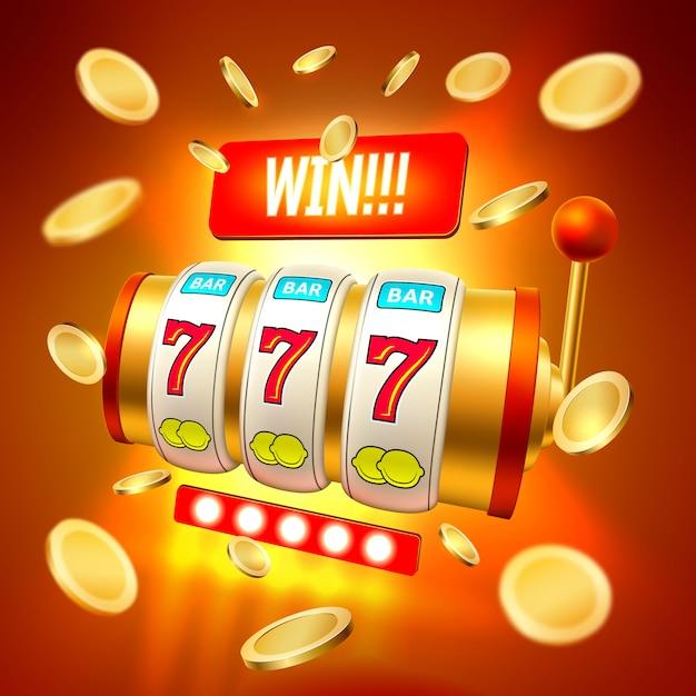 Jackpot realistico del casinò delle slot machine di vettore Vettore Premium