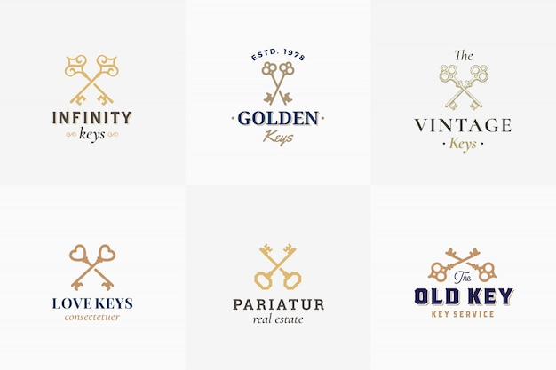 Set di emblemi chiave retrò vettoriale. segni astratti, simboli o modelli di logo. diverse sagome di chiavi incrociate con classica tipografia vintage. isolato. Vettore Premium