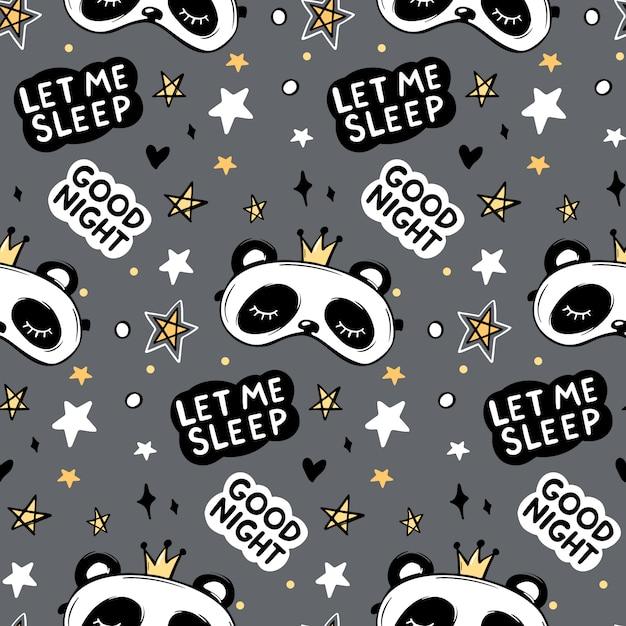 Reticolo senza giunte con l'orso panda sveglio nella maschera di sonno della corona, citazione dell'iscrizione della buona notte Vettore Premium