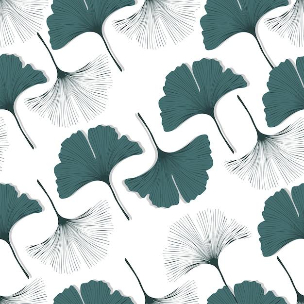Vector seamless pattern con ginkgo biloba foglie. Vettore Premium