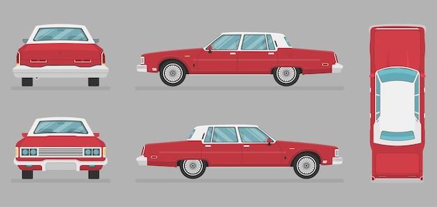 Vector berlina - vista laterale - vista frontale - vista posteriore - Vettore Premium