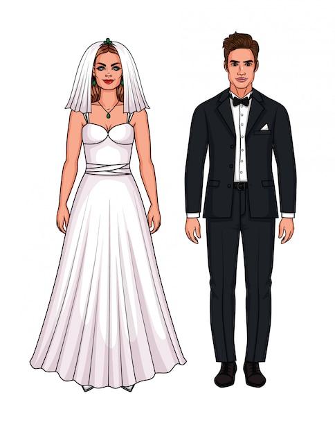 Insieme di vettore di bella coppia appena sposata europea. ragazza dell'omino di carta in vestito da sposa e tipo nel vestito di nozze isolato Vettore Premium