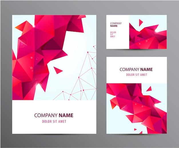 Set vettoriale di brochure, biglietti da visita, copertina, flyer design Vettore Premium