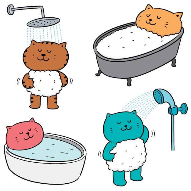 Insieme di vettore del bagno di gatto Vettore Premium