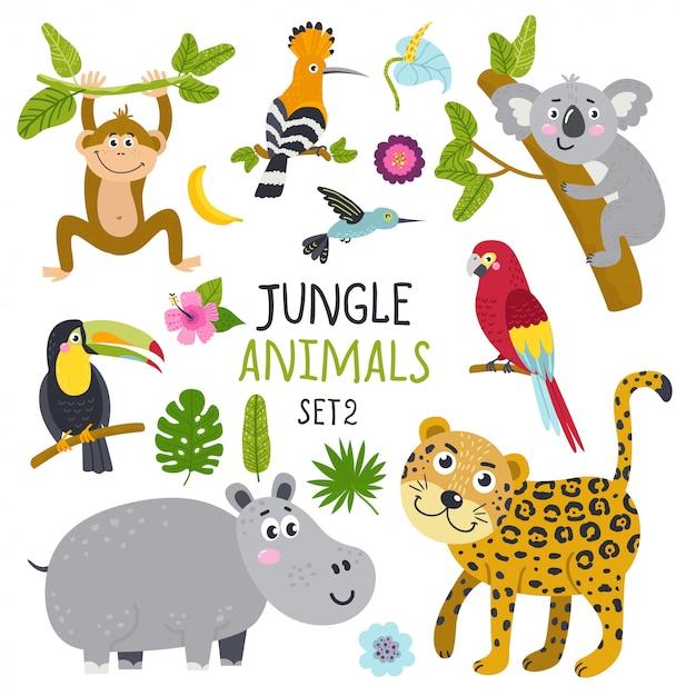 Insieme di vettore di simpatici animali dalla giungla e piante Vettore Premium