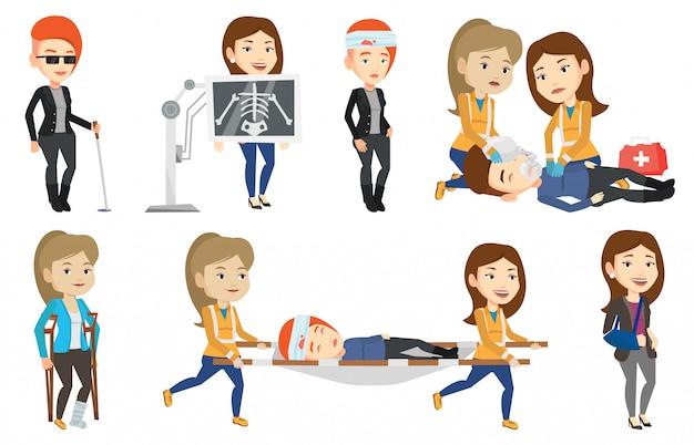 Insieme di vettore dei caratteri e dei pazienti di medico. Vettore Premium