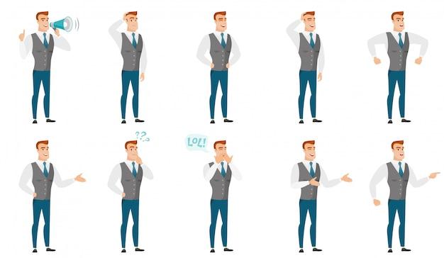 Insieme di vettore delle illustrazioni con uomini d'affari. Vettore Premium