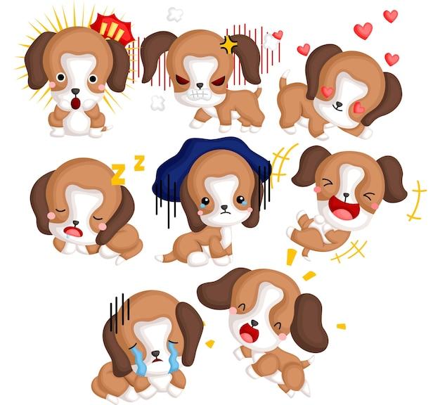 Un insieme di vettore di molti beagle in diverse emozioni Vettore Premium