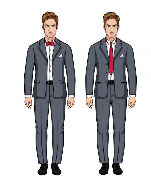 Set vettoriale di due uomini europei belli in giacca e cravatta. un ragazzo elegante in un abito grigio con una camicia bianca e cravatta rossa Vettore Premium