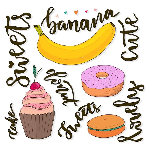 Collezione di dolci vettoriali. il doodle di vettore disegna i dolci - cupcake, donut, macaroon e banana Vettore Premium