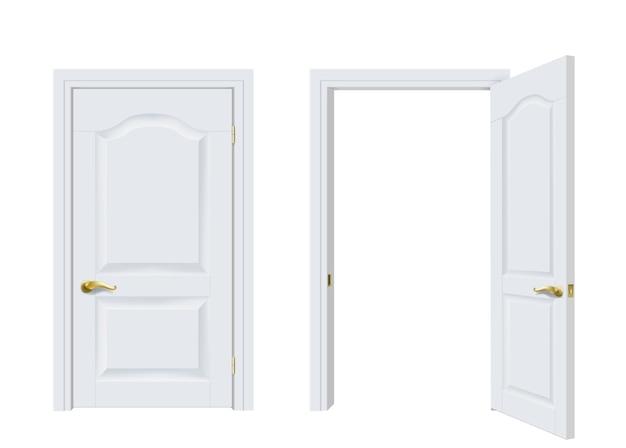 Vettore. due porte classiche bianche aperte e chiuse. Vettore Premium