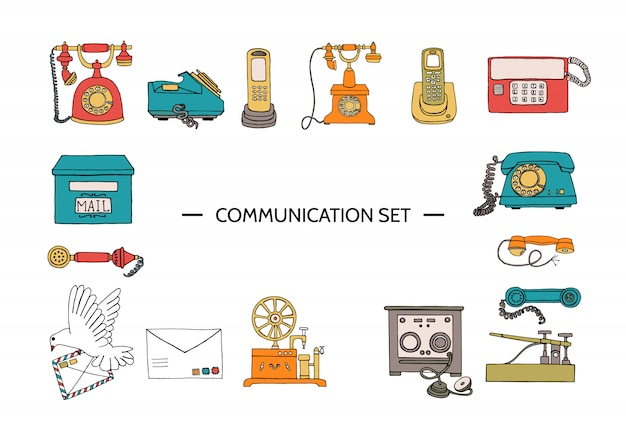 Mezzi di vettore vintage di set di comunicazione. Vettore Premium