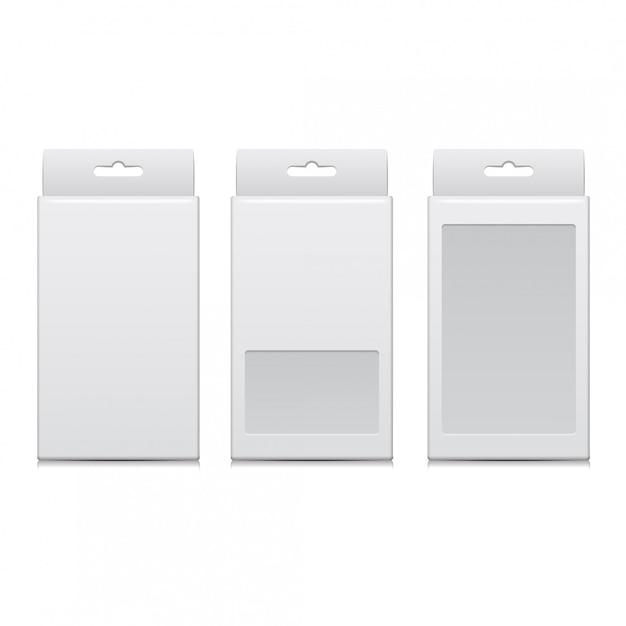 Pacchetto bianco di vettore per software, dispositivo elettronico e altri prodotti Vettore Premium