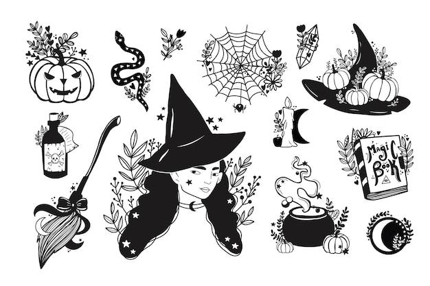 Insieme di elementi magici della strega di vettore. disegnato a mano, doodle, collezione di mago di schizzo. Vettore Premium