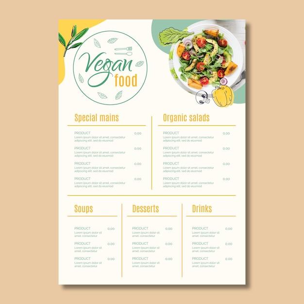 Modello di menu di cibo vegano Vettore Premium