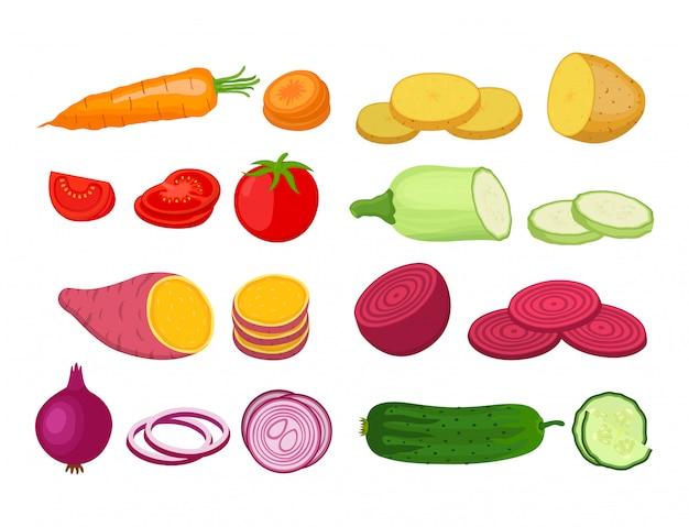 Set di verdure. piante da giardino organiche in stile piatto dei cartoni animati Vettore Premium