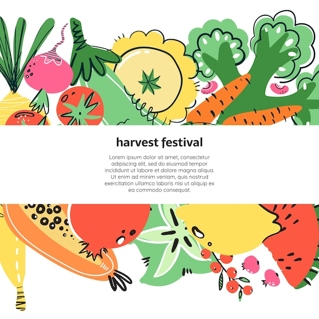 Frutta e verdura illustratoin disegnato a mano. pasto sano, dieta, nutrizione. Vettore Premium
