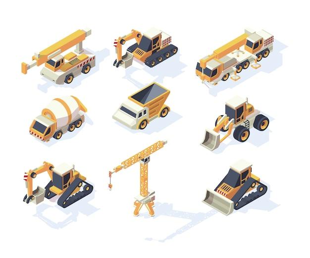 Costruzioni di veicoli. macchinari del trasportatore dell'escavatore della gru del furgone del camion delle grandi automobili per la raccolta isometrica dei costruttori. illustrazione isometrica di trasporto, trasporto merci industriale Vettore Premium