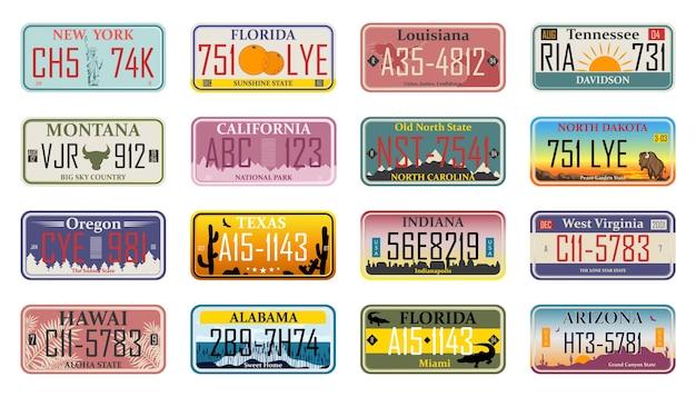 Numeri di licenza del veicolo di diversi stati e paesi usa Vettore Premium