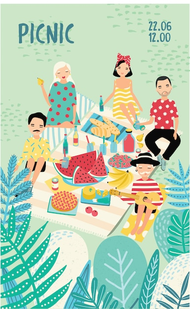 Manifesto pubblicitario verticale su un tema da picnic. Vettore Premium