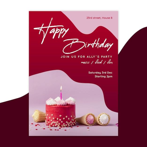 Modello di carta di compleanno verticale Vettore Premium