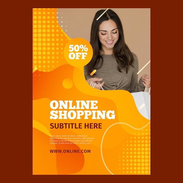 Volantino verticale per lo shopping online Vettore Premium
