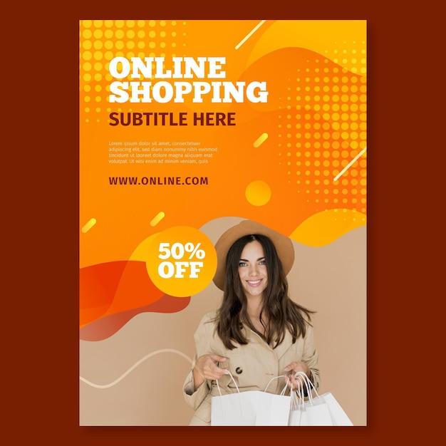 Modello di volantino verticale per lo shopping online Vettore Premium