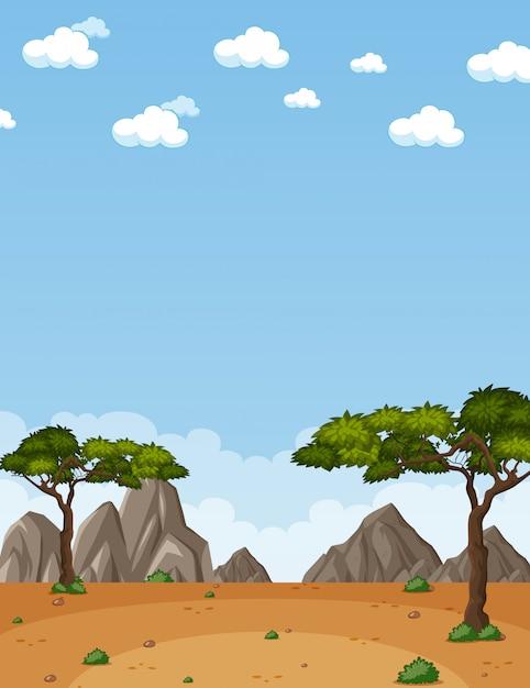 Scena della natura verticale o paesaggio di campagna con vista sul deserto e cielo vuoto durante il giorno Vettore Premium