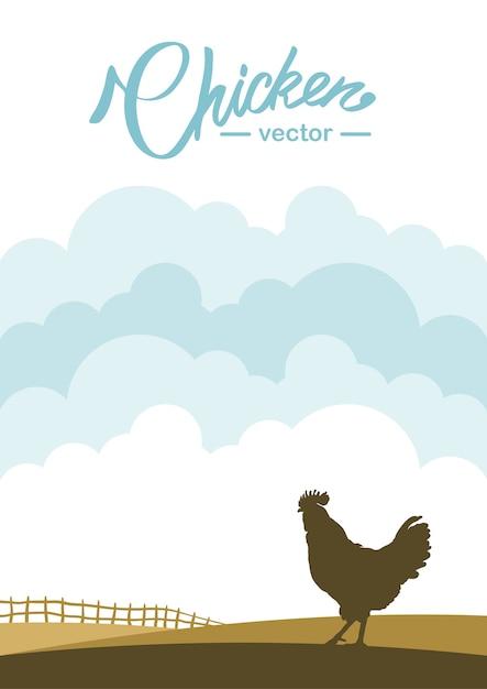 Scena verticale con profilo di gallo sullo sfondo del campo dell'azienda agricola. Vettore Premium