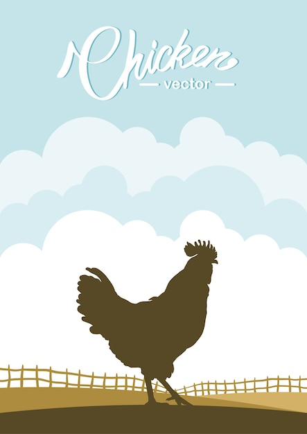Scena verticale con silhouette di gallo sullo sfondo del campo dell'azienda agricola. Vettore Premium