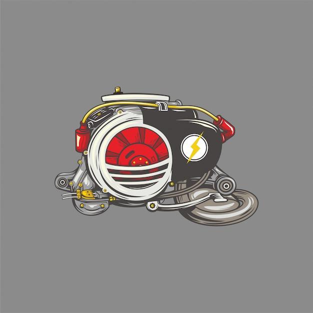 Illustrazione del motore vespa Vettore Premium