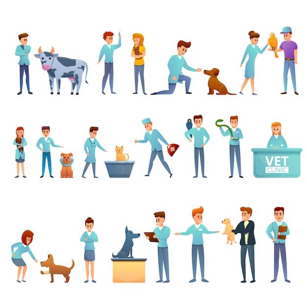Icone veterinarie messe, stile del fumetto Vettore Premium
