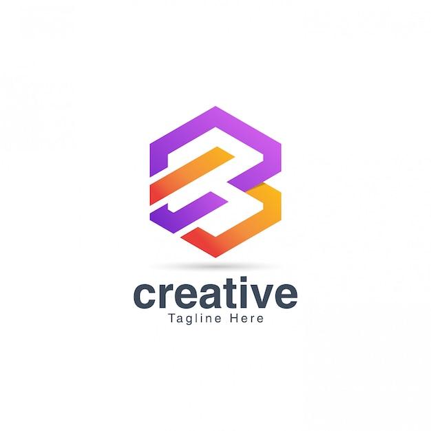 Modello di disegno di marchio creativo vibrante lettera b. Vettore Premium