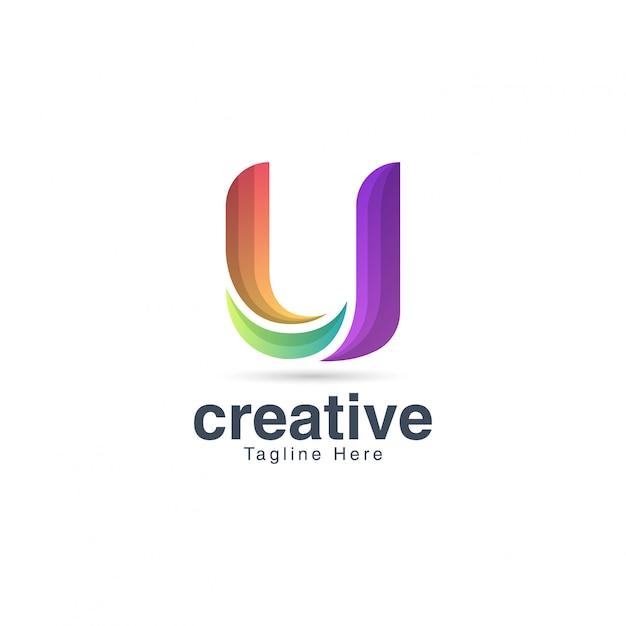Modello creativo vibrante di lettera u logo design Vettore Premium