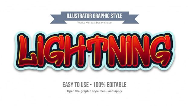 Effetto di testo modificabile in stile graffiti rosso vibrante Vettore Premium