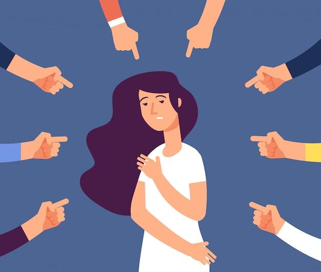 Donne vittime. ragazza depressa nella vergogna e mani con dito puntato. colpevole, vergogna femminile e colpa nella società Vettore Premium