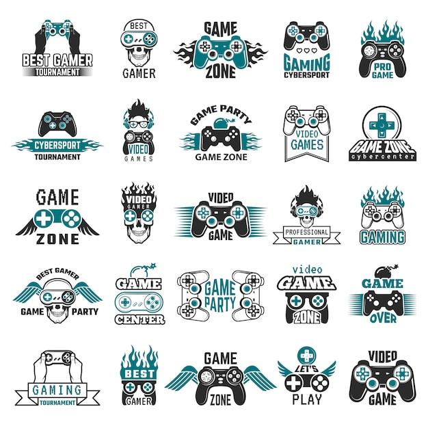 Etichette per videogiochi. console di gioco logo cybersport logo joystick controller simboli della collezione di club di intrattenimento Vettore Premium