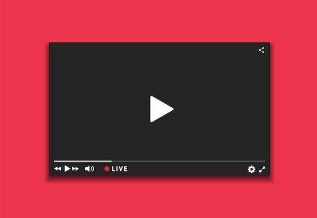 Streaming live della finestra del lettore video. interfaccia scura del lettore video. design del lettore con pulsante live stream. Vettore Premium