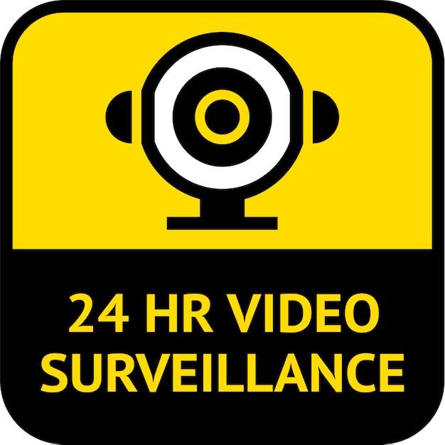 Videosorveglianza, forma quadrata dell'etichetta del cctv, illustrazione di vettore Vettore Premium